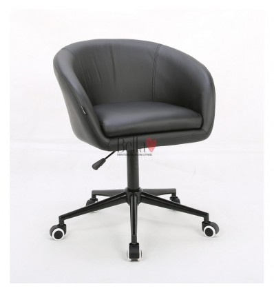 Black hairs for beauty salon on wheels. Chair on wheels black BFHC8326K