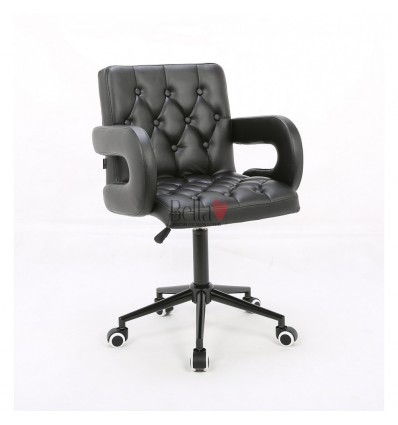 Hroove Salon Chair On Wheels Black BFHR8404K Bella Furniture Ireland