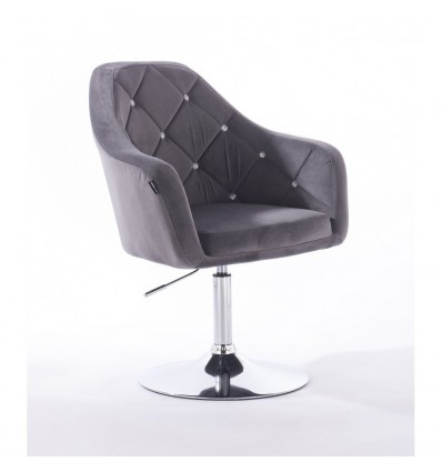 Hroove Salon Chair - Grey Velour Bella Furniture BFHR830