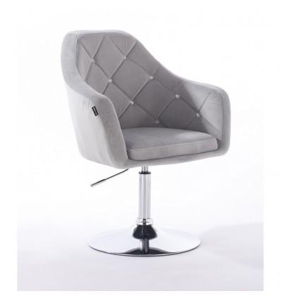 Hroove Salon Chair - Light Grey Velour Bella Furniture Scandinavian Style BFHR830