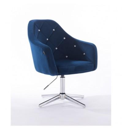 Hroove Salon Chair - Blue Velour BFHR830CROSS
