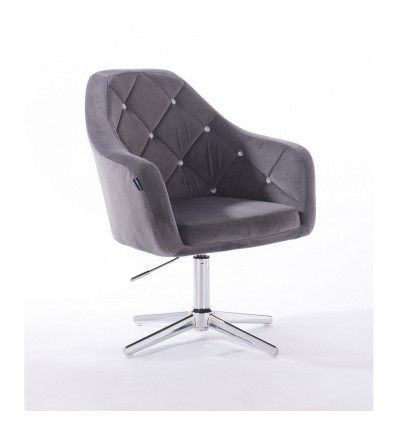 Hroove Salon Chair - Grey Velour BFHR830CROSS
