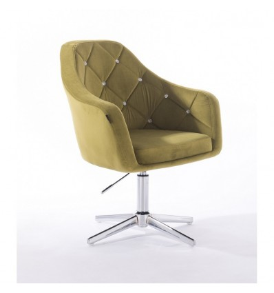 Hroove Salon Chair - Olive Velour BFHR830CROSS
