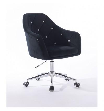 Hroove Salon Chair On Wheels - Black Velour Bella Furniture Ireland BFHR830CK