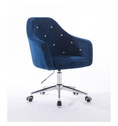 Hroove Salon Chair On Wheels - Blue Velour Bella Furniture Ireland BFHR830CK