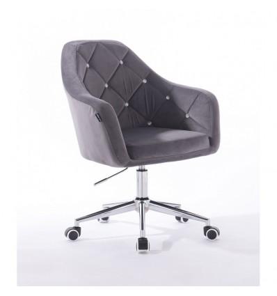 Hroove Salon Chair On Wheels - Grey Velour BFHR830CK