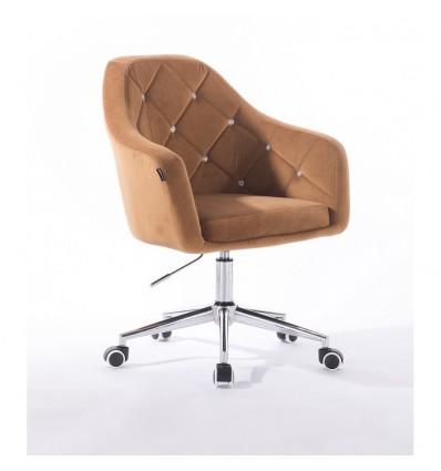 Hroove Salon Chair On Wheels - Carmel Velour Bella Furniture Ireland BFHR830CK