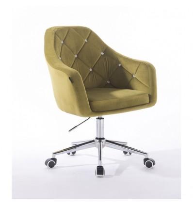 Hroove Salon Chair On Wheels - Olive Velour BFHR830CK