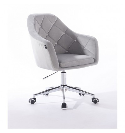 Hroove Salon Chair On Wheels - Light Grey Velour Bella Furniture Ireland BFHR830CK