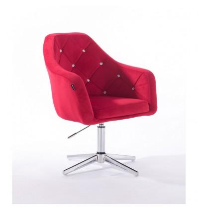 Hroove Salon Chair - Red Velour Bella Furniture Ireland BFHR830CROSS