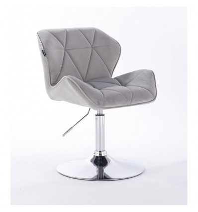Hroove Salon Chair - Light Grey Velour Bella Furniture Ireland BFHR111N