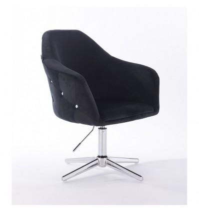 Hroove Salon Chair - Black Velour Bella Furniture Ireland BFHR547CROSS