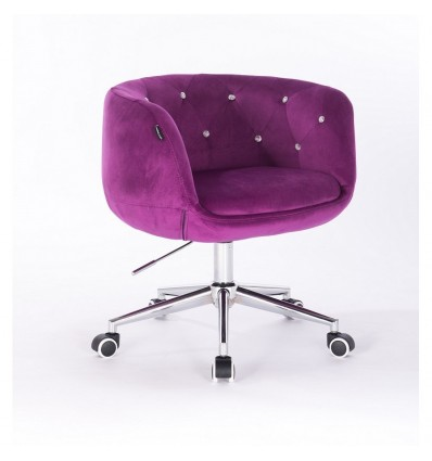 Hroove Chair on Wheels - Fuchsia Velour Bella Furniture Ireland BFHR333K