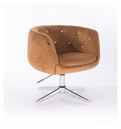 Hroove Salon Chair - Carmel Velour Bella Furniture Ireland BFHR333CROSS