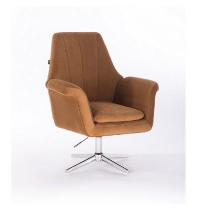 Hroove Salon Chair - Carmel Velour BFHR660CROSS Bella Furniture Ireland