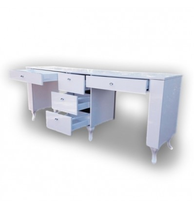 PIERO Two Station Nail Desk with 5 drawers - Bella Diamond Collection