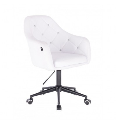 Black Base Chair On Wheels - White BFHR830