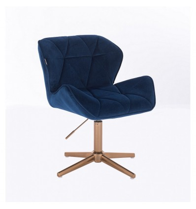 Copper Hroove Salon Chair - Blue Velour BFHR111CROSS