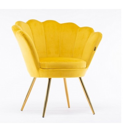 Hroove Salon Chair - Yellow Velour BFHR1414
