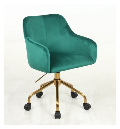 Hroove Salon Chair On Wheels - Green Velour BFHR698