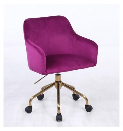 Hroove Salon Chair On Wheels - Fuchsia Velour BFHR698